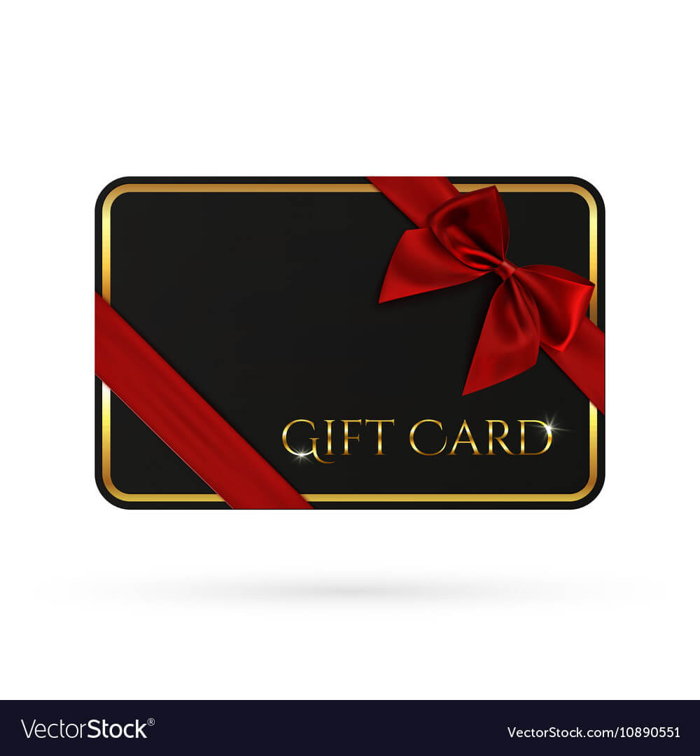 Black Gift Card Template With Red Ribbon And A Bow For Gift Card Template Illustrator
