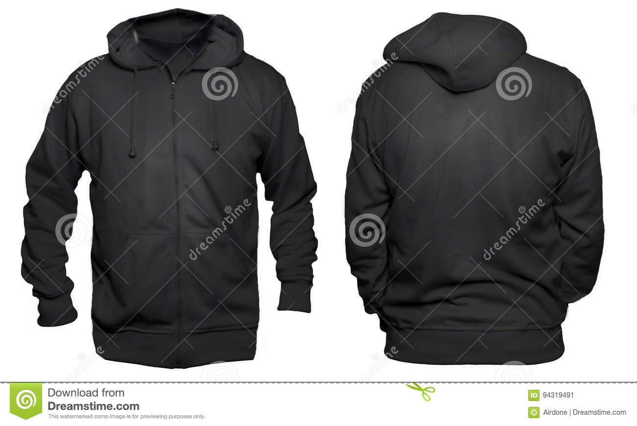 Black Hoodie Mock Up Stock Image. Image Of Casual, Cotton Pertaining To Blank Black Hoodie Template