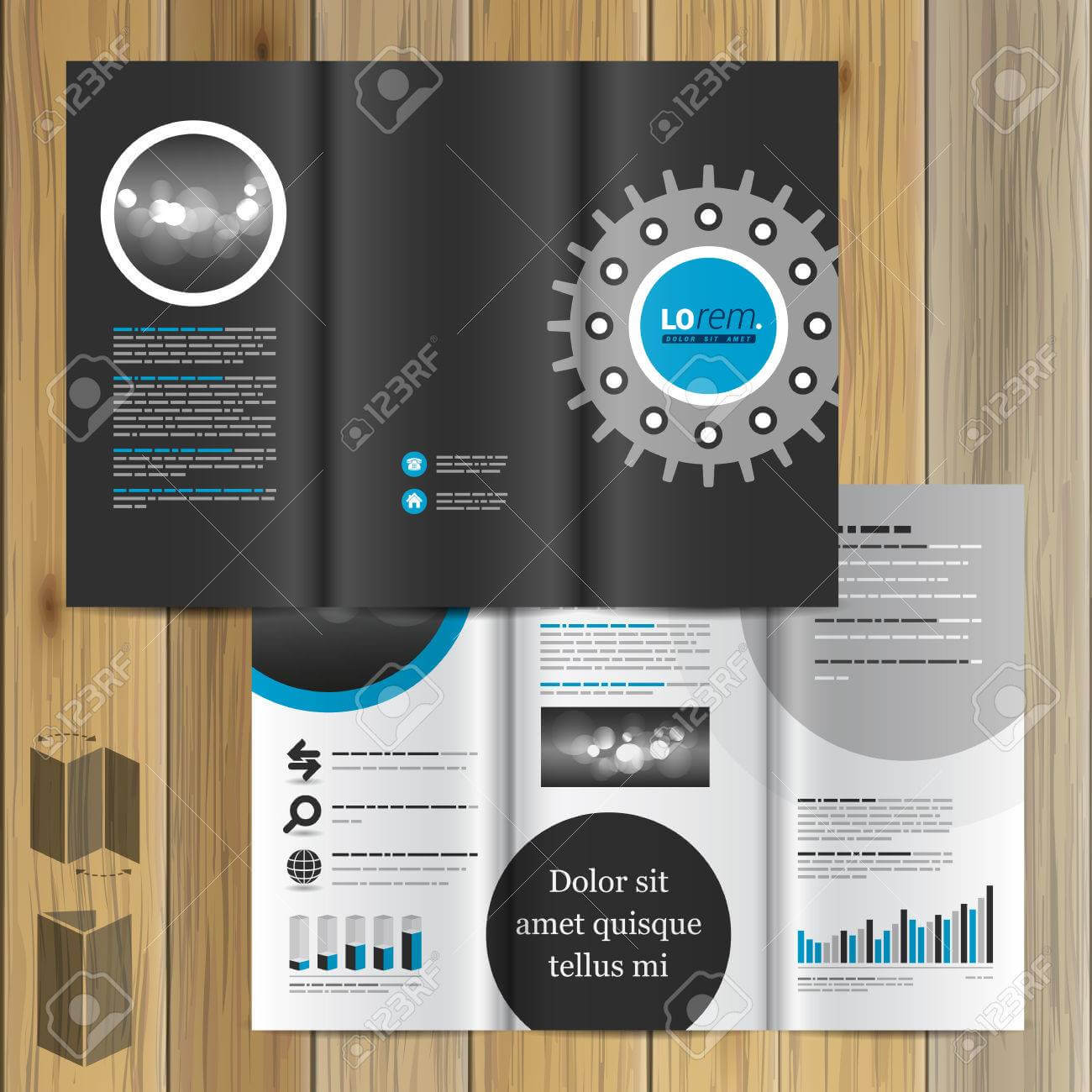 Black Technical Brochure Template Design With Cogwheel. Cover.. with Technical Brochure Template