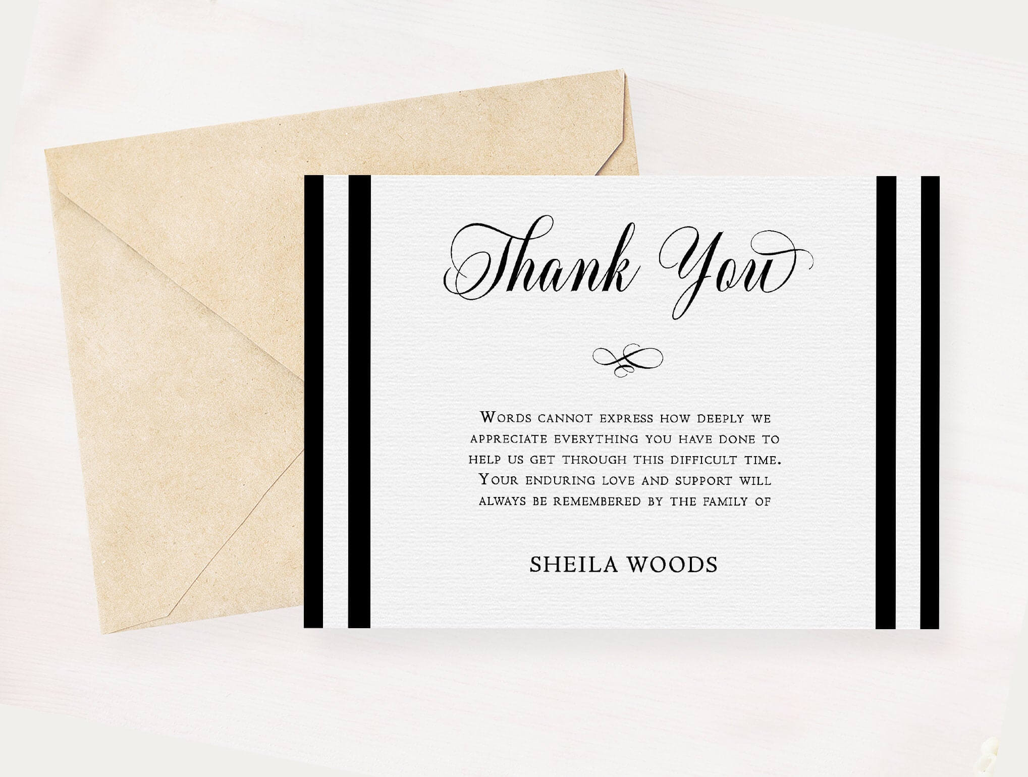 Black & White Sympathy Thank You Card Memorial Service Editable Template  Obituary Service Microsoft Word Template Acknowledgement Card within Sympathy Thank You Card Template