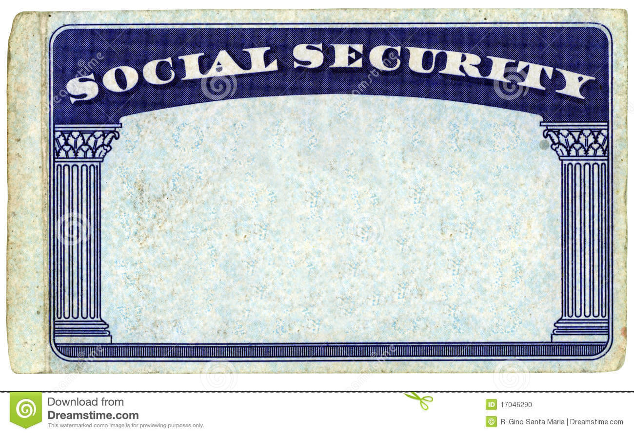 Blank American Social Security Card Stock Photo - Image Of throughout Ss Card Template