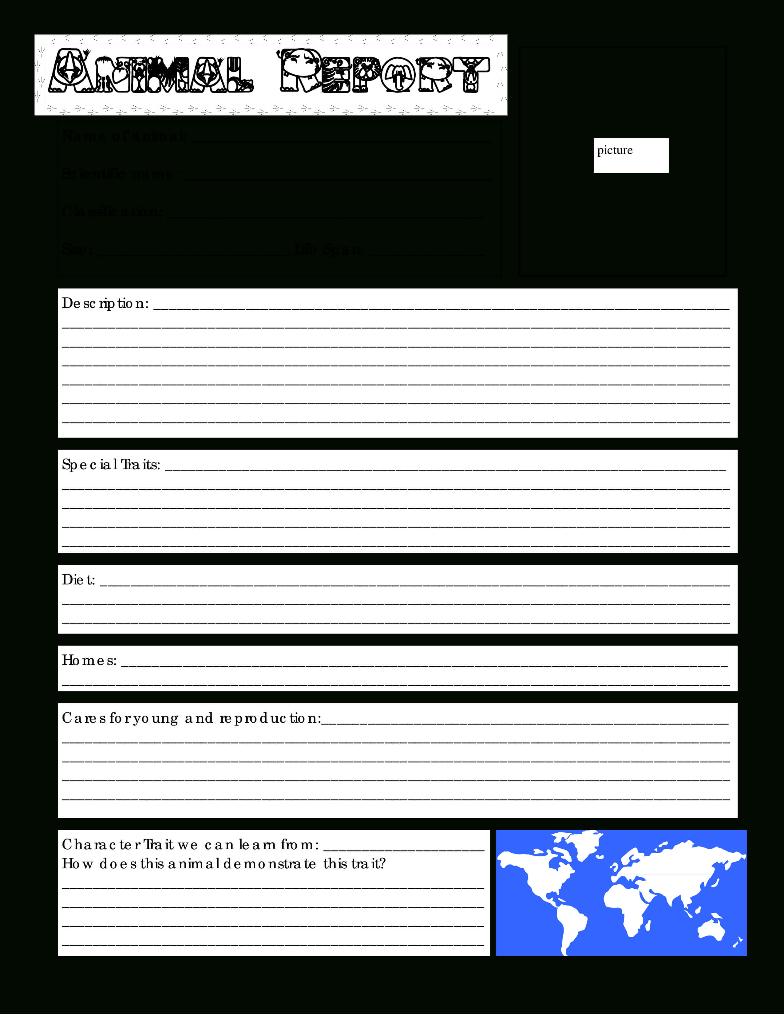 Blank Animal Report | Templates At Allbusinesstemplates inside Animal Report Template