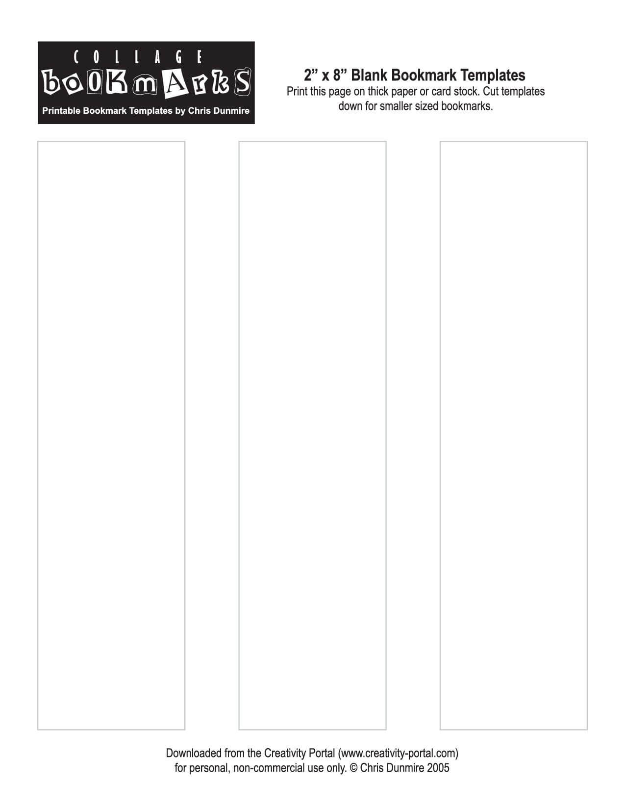 Blank Bookmark Template Printable   Literacy   Bookmark With Regard To Free Blank Bookmark Templates To Print