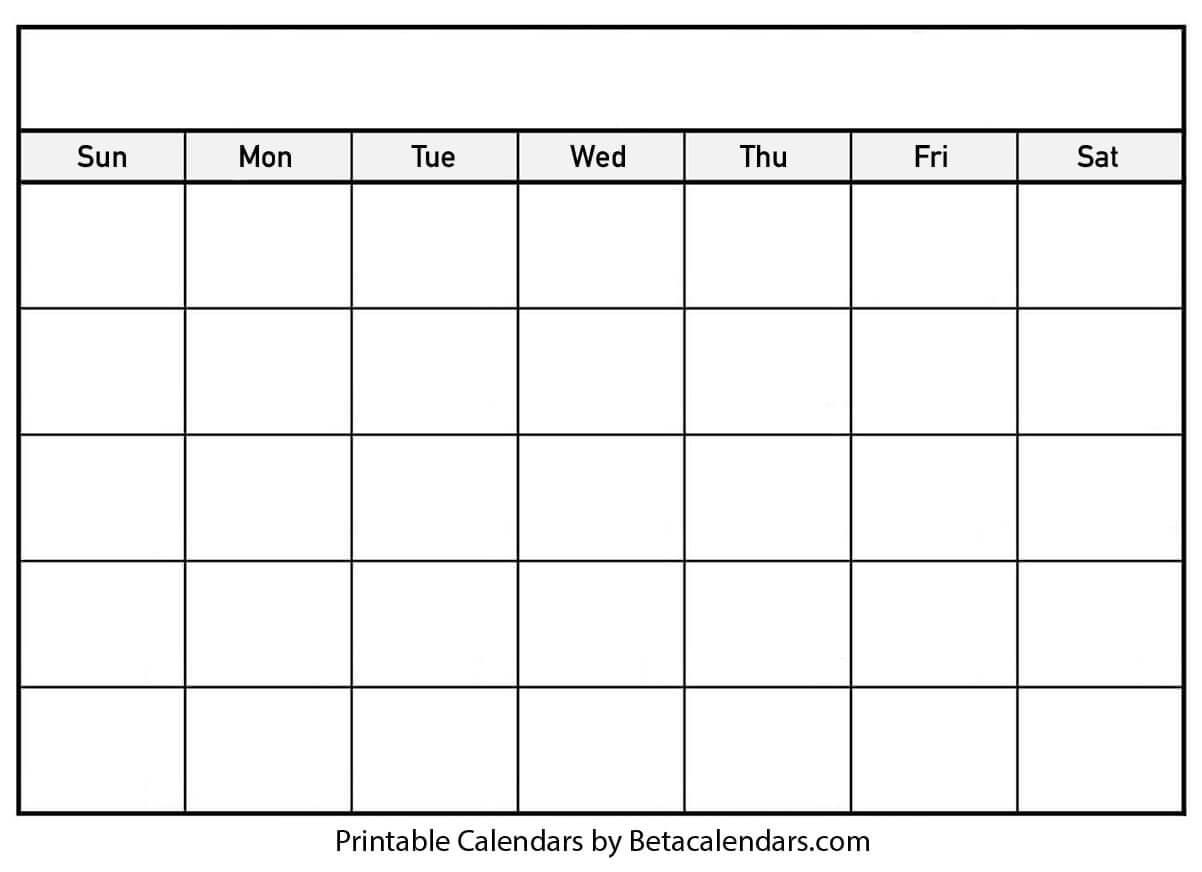 Blank Calendar - Beta Calendars in Blank Calender Template