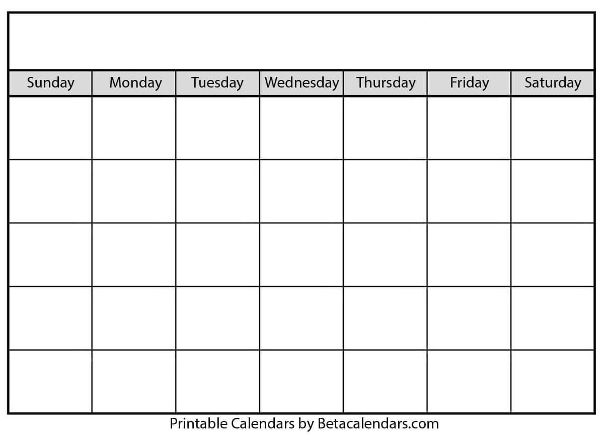 Blank Calendar - Beta Calendars with regard to Blank Calander Template