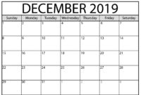 Blank Calendar December 2019 : For Exam Time Status   Free with regard to Blank Calendar Template For Kids