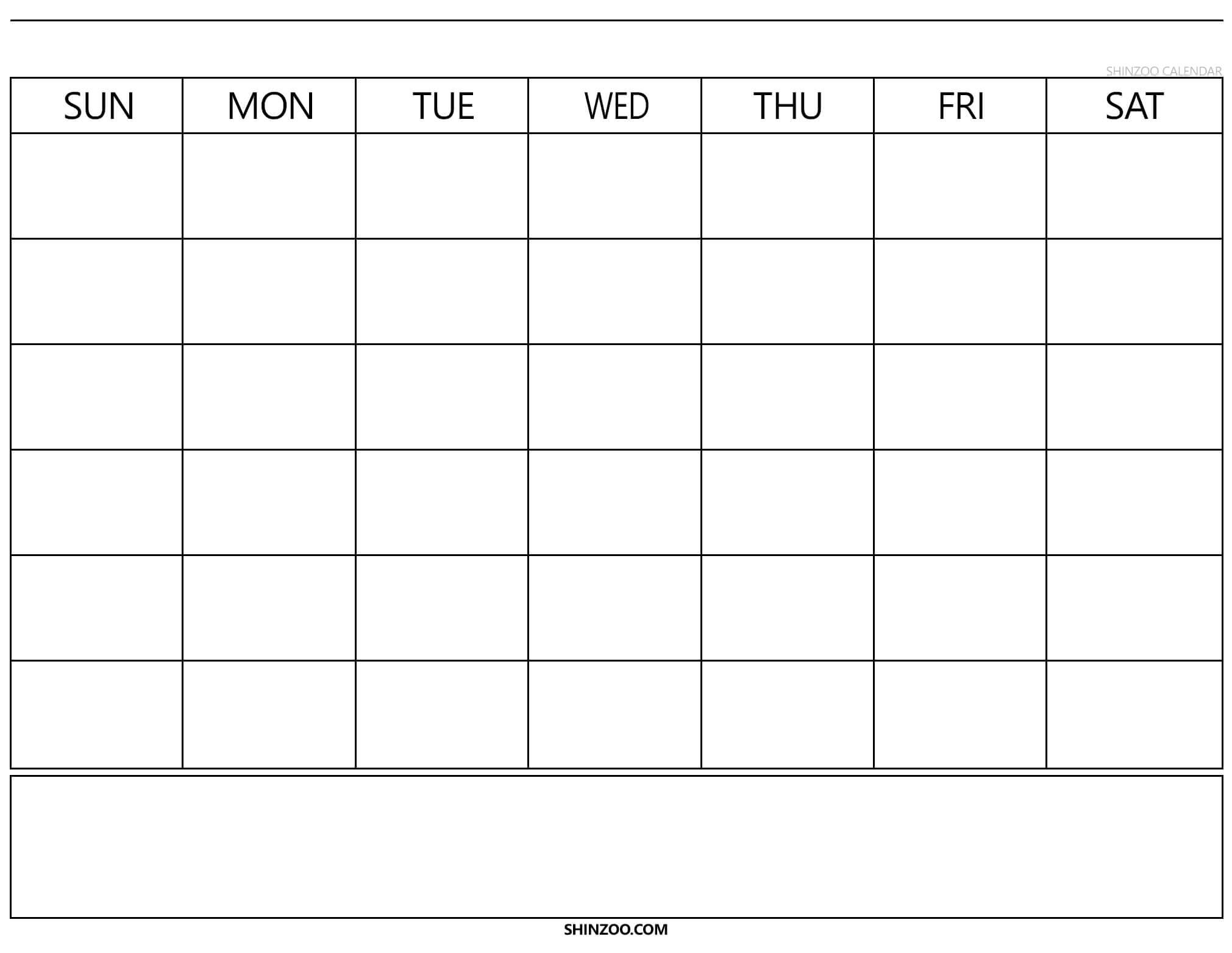 Blank Calendar Template 2019 2020 Printable throughout Blank Calander Template