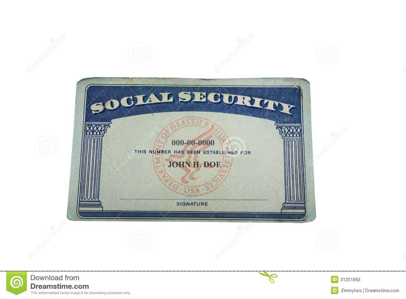 Blank Card Stock Photo. Image Of Social, Socialsecurity intended for Blank Social Security Card Template Download