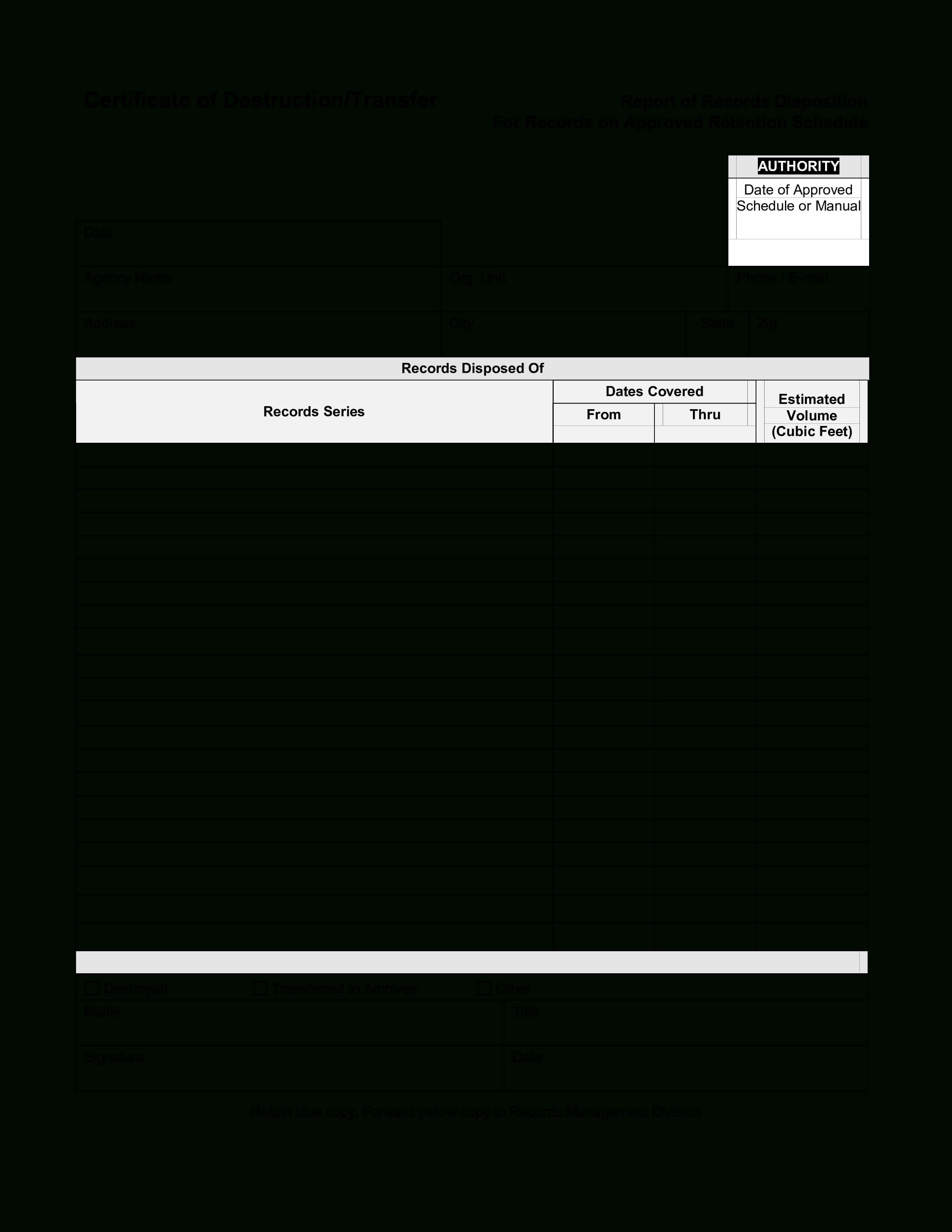 Blank Certificate Of Destruction | Templates At Throughout Free Certificate Of Destruction Template