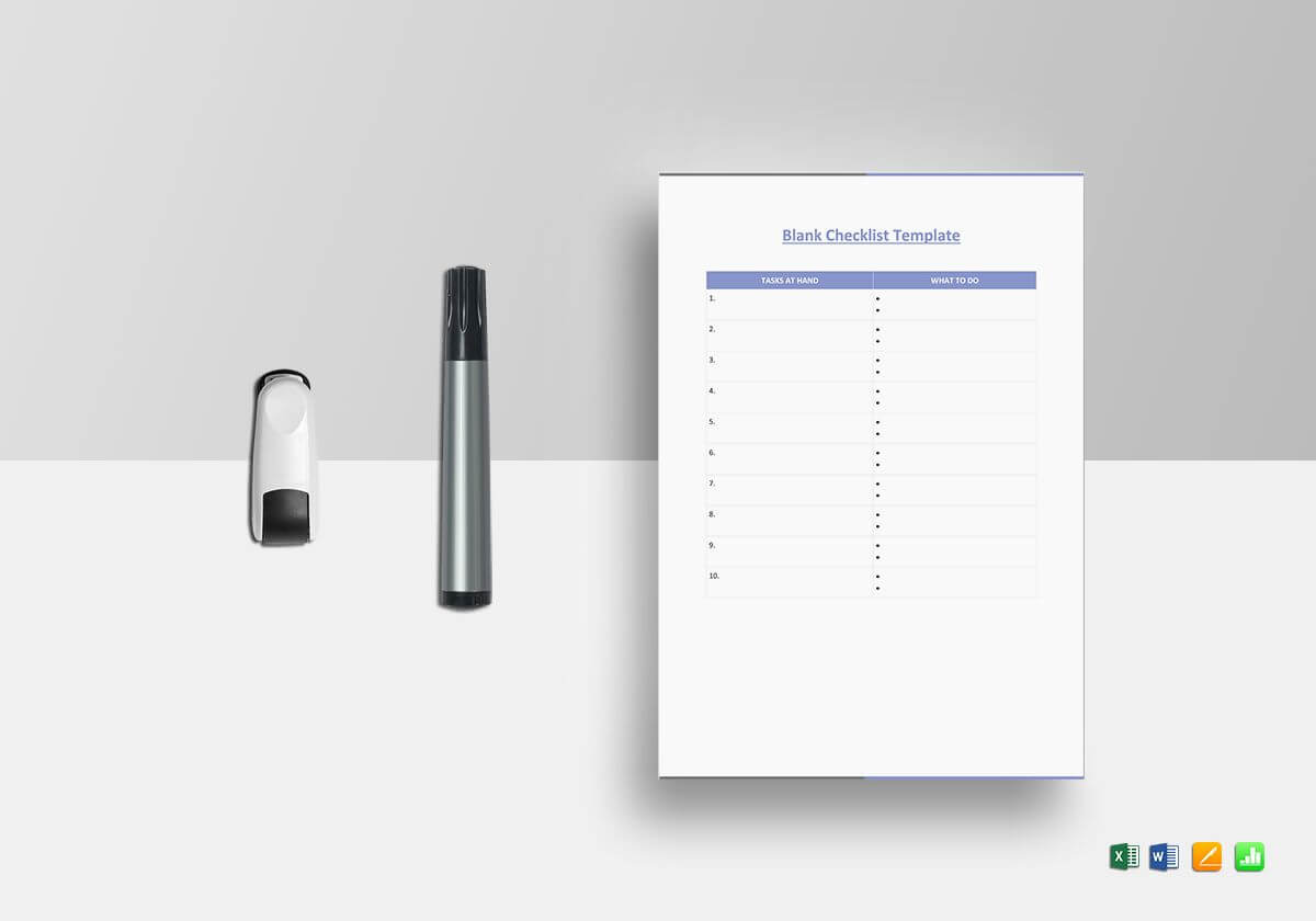 Blank Checklist Template for Blank Checklist Template Word