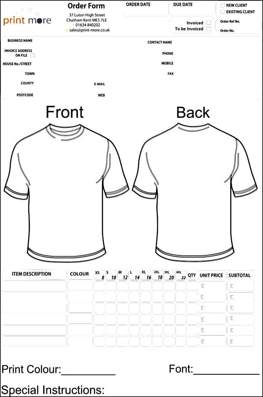 Blank Clothing Order Form Template | Besttemplates123 Intended For Blank T Shirt Order Form Template