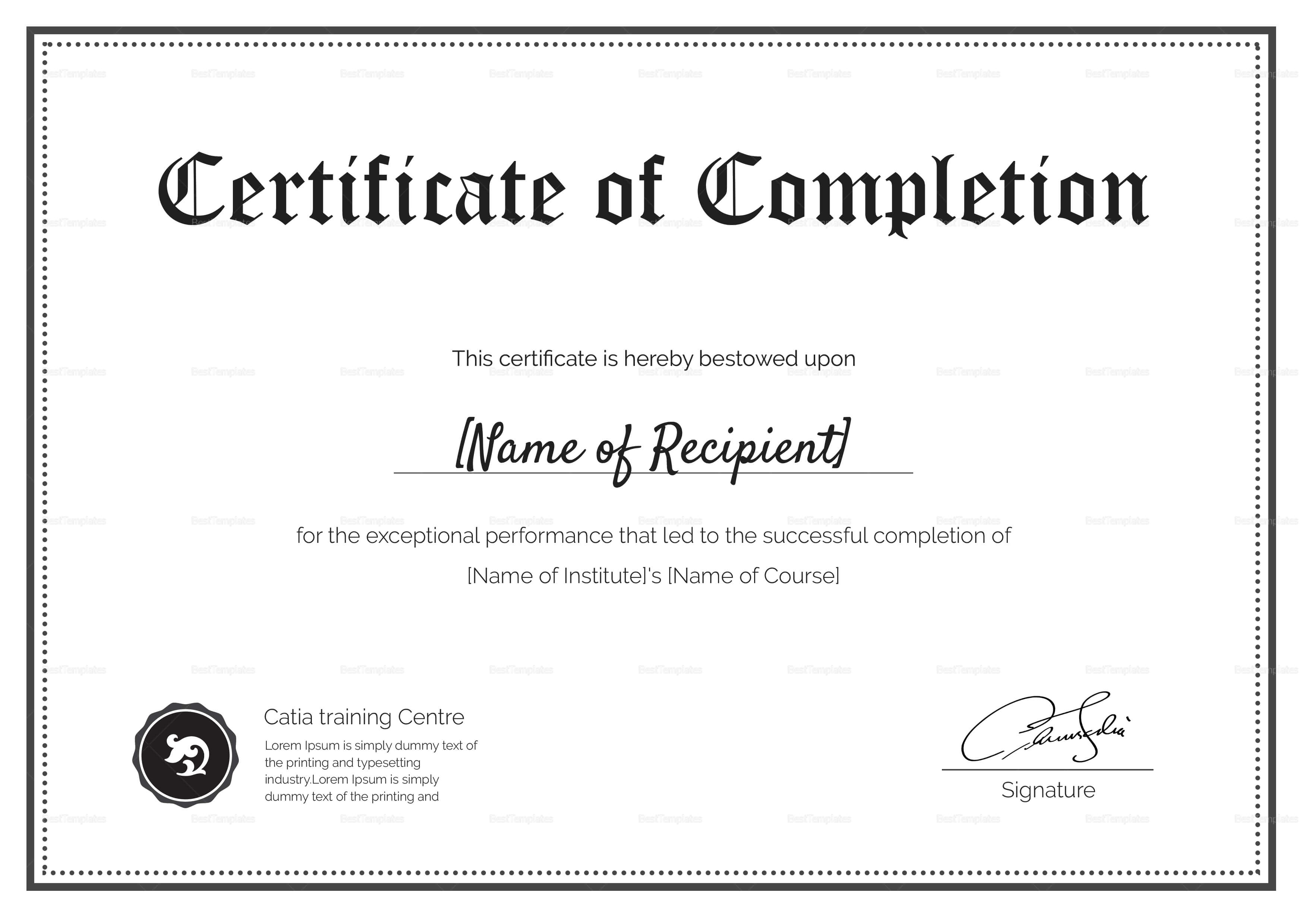 Blank Completion Certificate Template Throughout Certification Of Completion Template