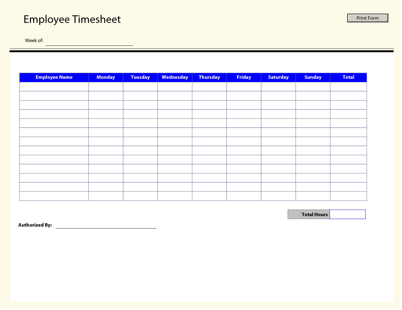 Blank Employee Timesheet Template | Templates Printable Free with Weekly Time Card Template Free