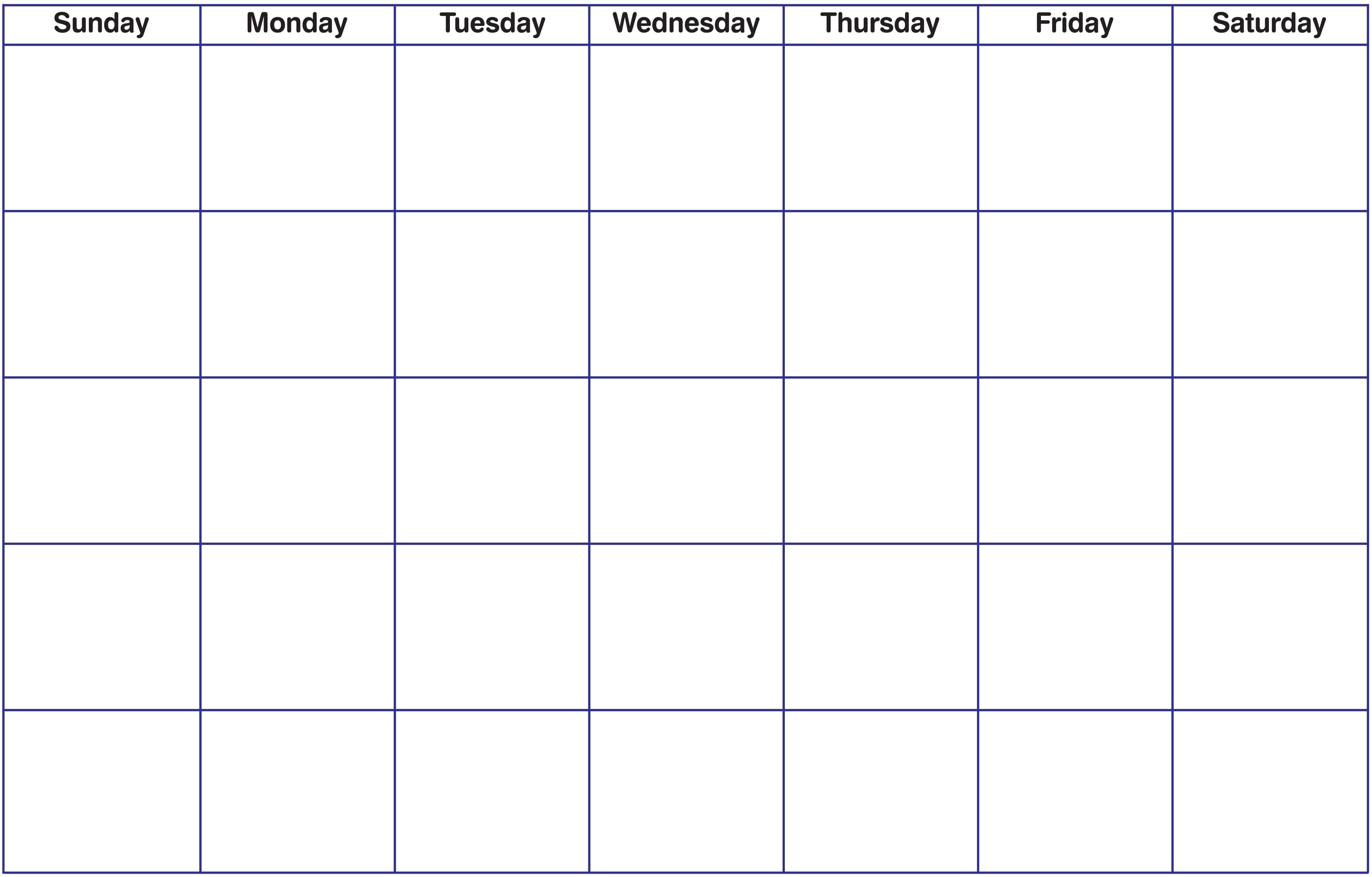 Blank Fillable Calendar Blank Calendar Printable Calendar throughout Full Page Blank Calendar Template