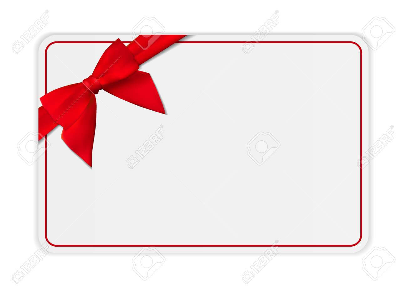 Blank Gift Card Template With Bow And Ribbon. Vector Illustration.. With Present Card Template