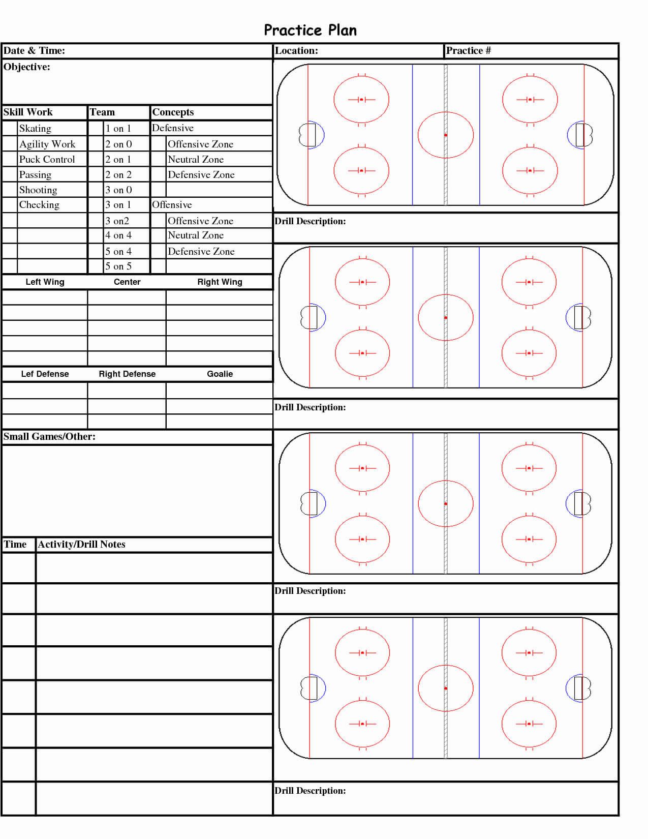 Blank Hockey Practice Plan Template - Atlantaauctionco Regarding Blank Hockey Practice Plan Template