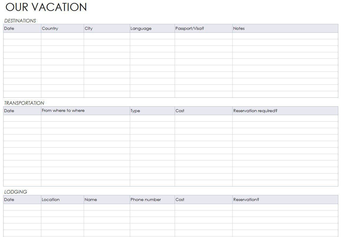 Blank Itinerary Templates - Word Excel Samples Inside Blank Trip Itinerary Template