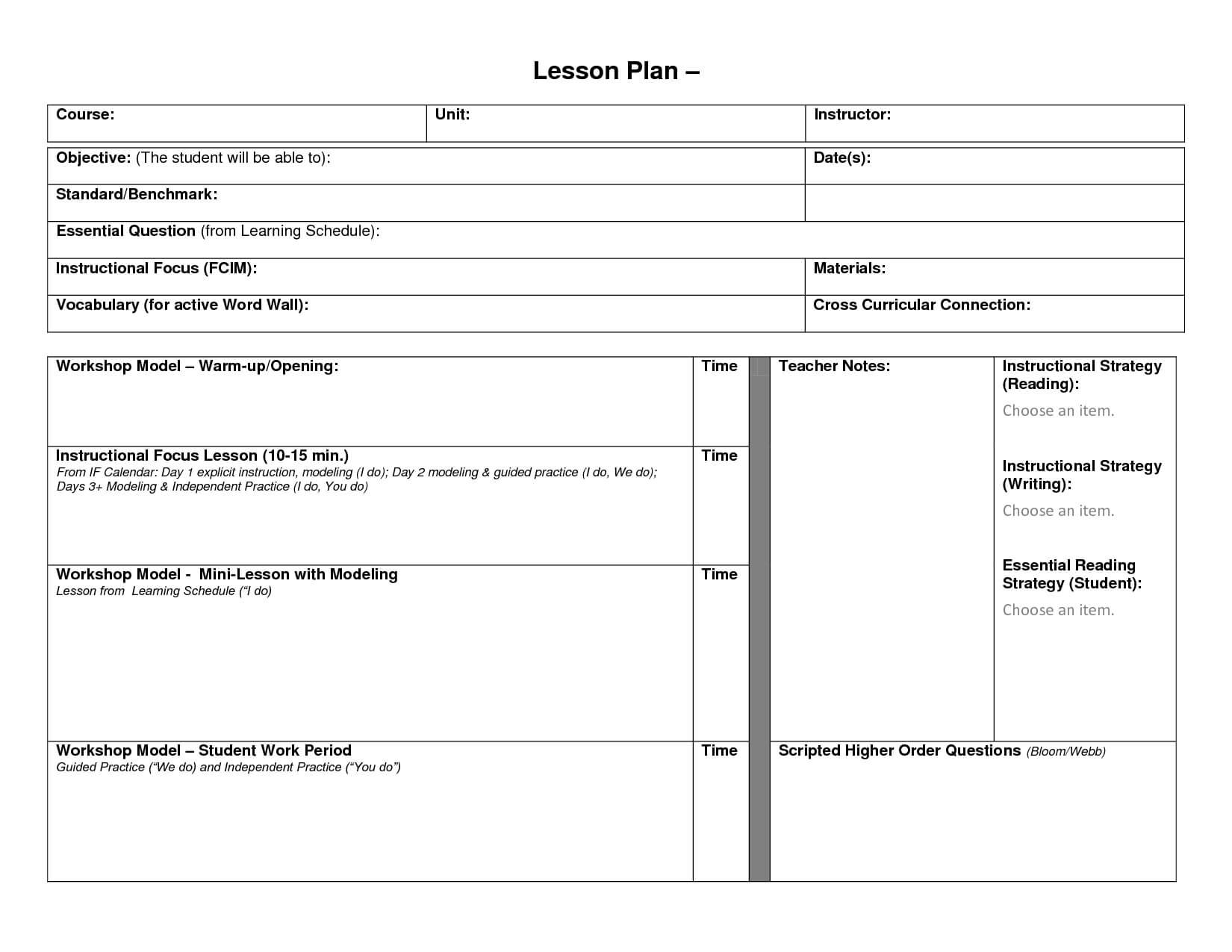Blank Lesson Plan Format Template | Blank Lesson Template Pertaining To Blank Unit Lesson Plan Template
