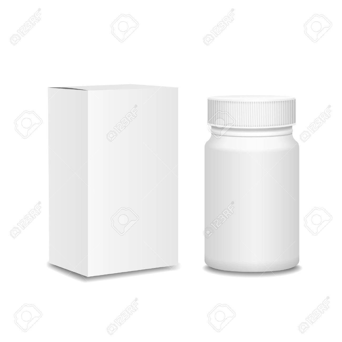 Blank Medicine Bottle And Cardboard Packaging, Vitamins, Examples.. inside Blank Packaging Templates