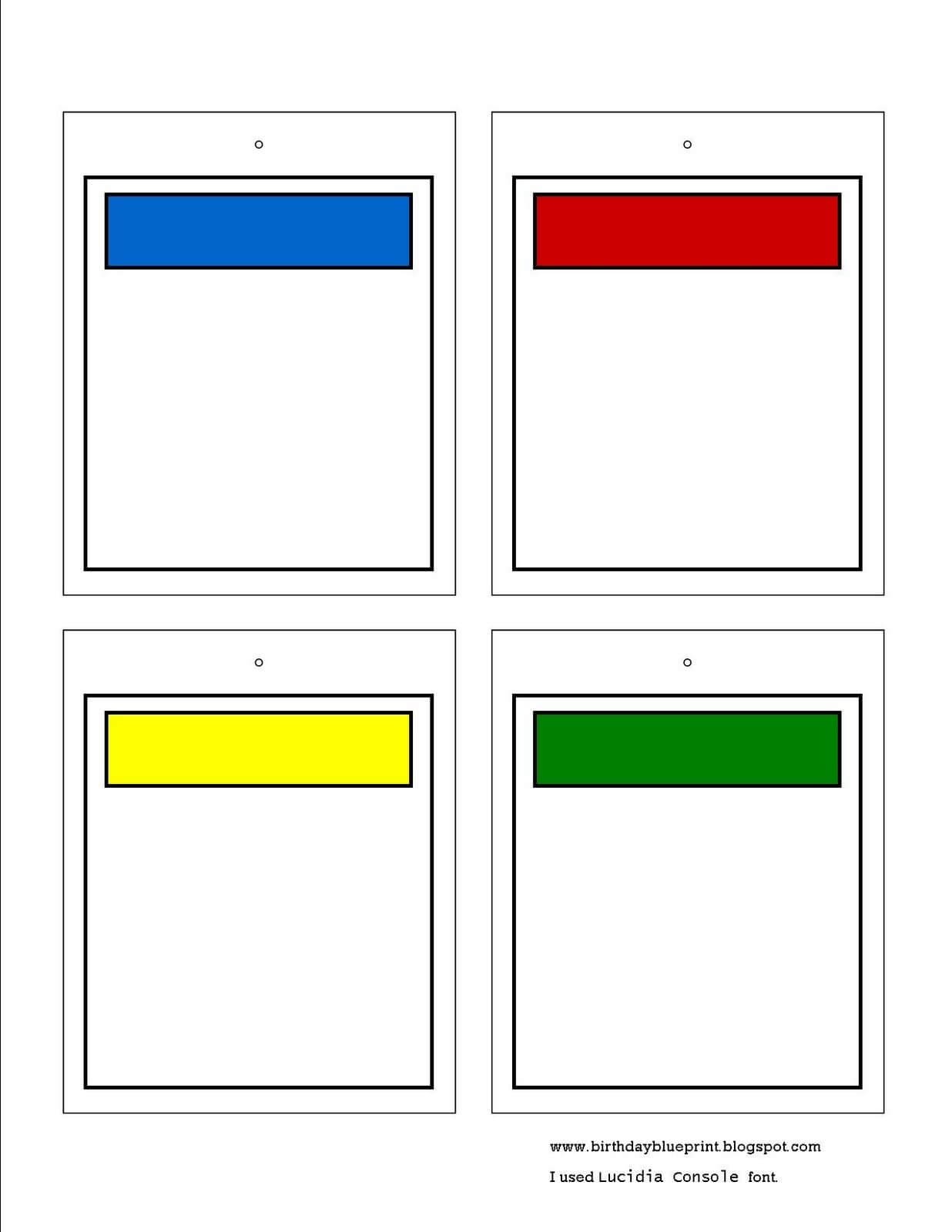 Blank Monopoly Property Cards. To Write In The Bible Memory throughout Monopoly Property Card Template