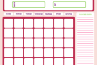 Blank Month Calendar – Pinks – Free Printable Downloads From with Blank One Month Calendar Template