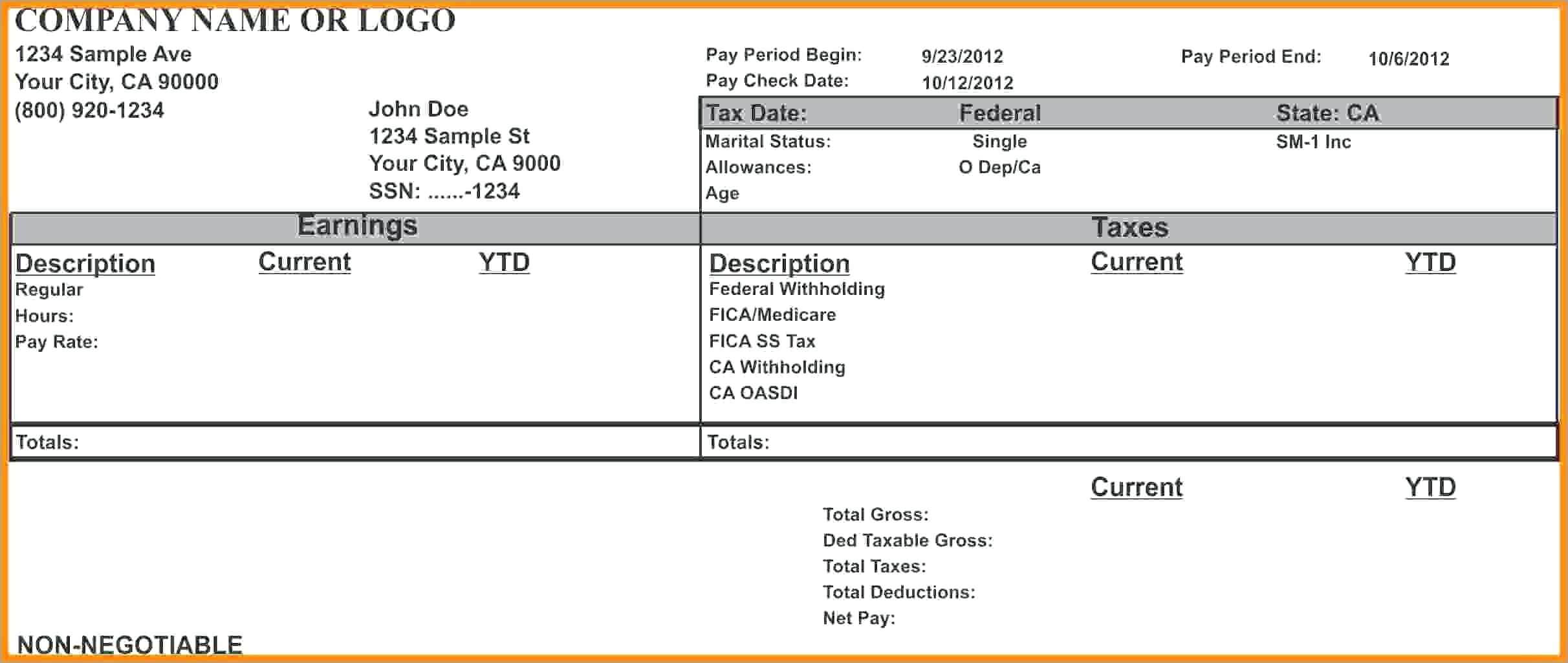 Blank Pay Stub Template Word – Wovensheet.co pertaining to Pay Stub Template Word Document