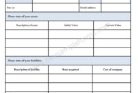 Blank Personal Financial Statement Form – Sample Forms with Blank Personal Financial Statement Template