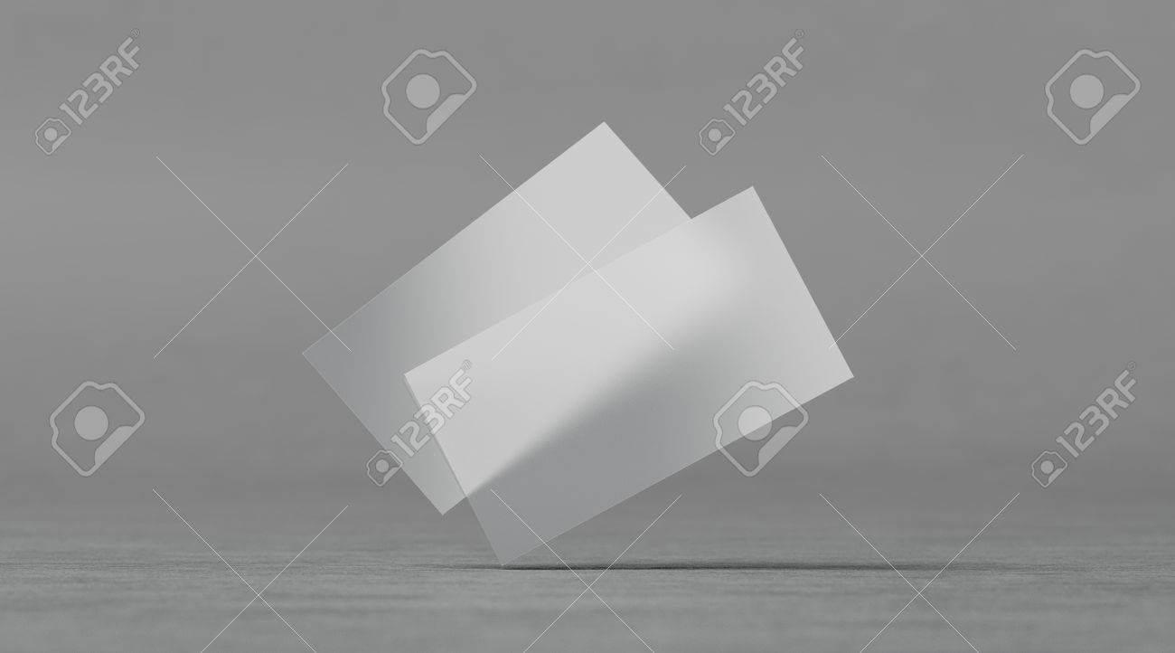 Blank Plastic Transparent Business Cards Mockups, 3D Rendering with Transparent Business Cards Template