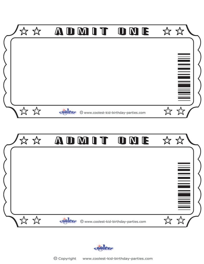 Blank Printable Admit One Invitations Coolest Free within Blank Admission Ticket Template