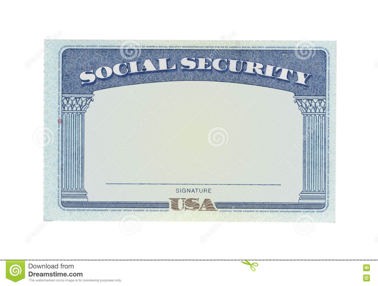 Blank Social Security Card Stock Photo. Image Of Money with regard to Ss Card Template