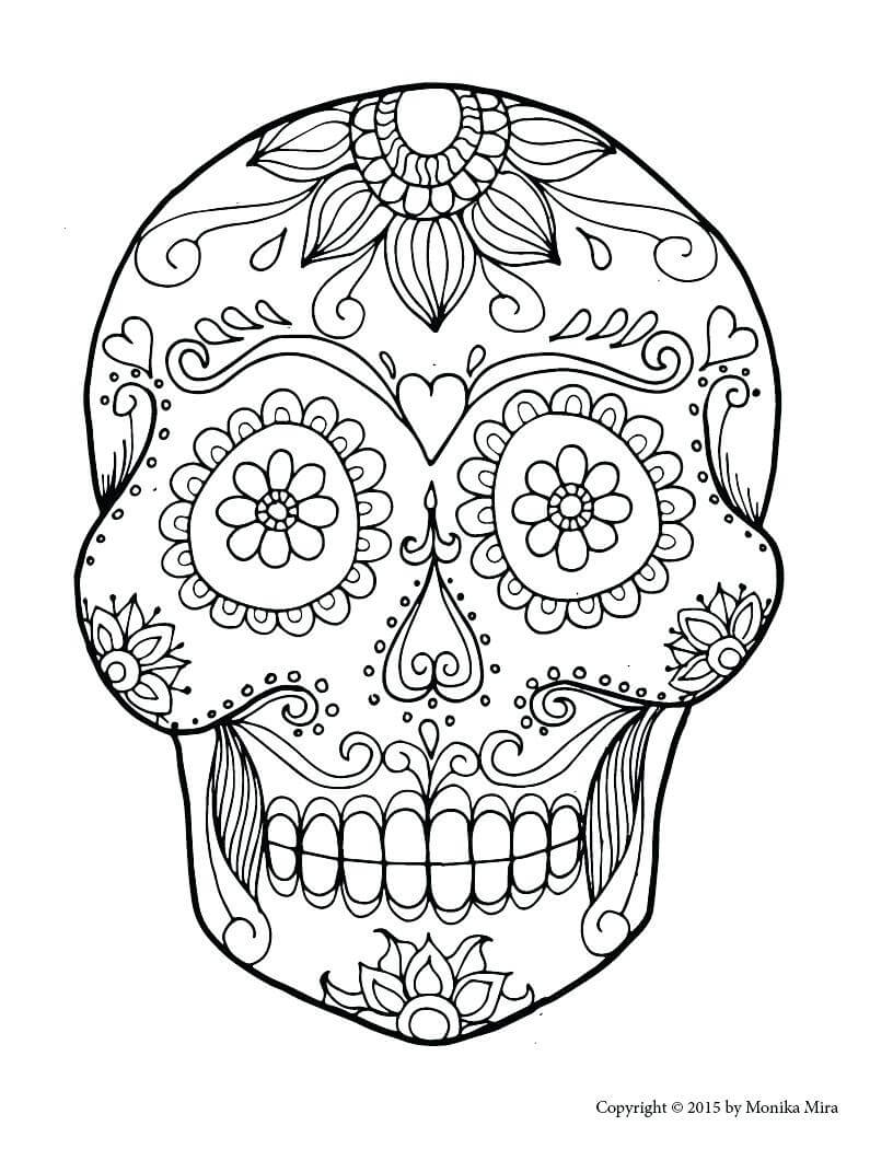 Blank Sugar Skull Coloring Pages – Proteussheet.co within Blank Sugar Skull Template