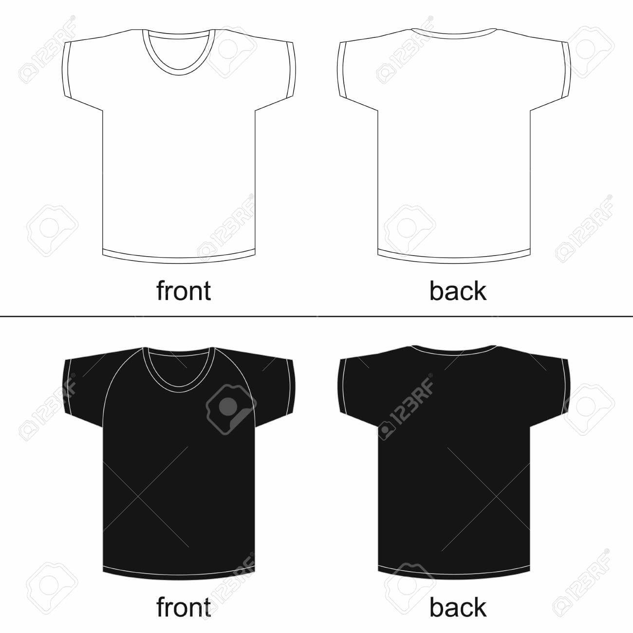 Blank T-Shirt Template. Front And Back, For Printable. Vector.. with regard to Blank Tshirt Template Printable