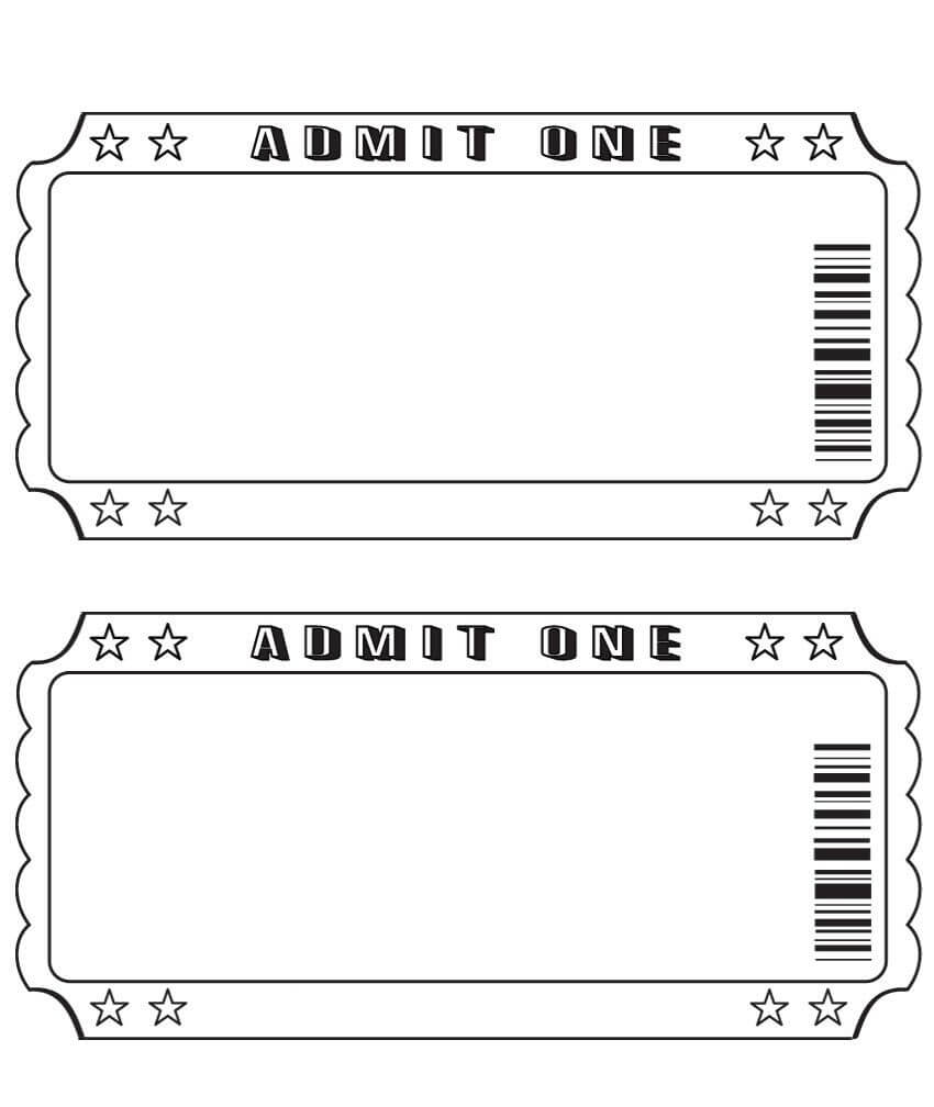 Blank Ticket … | Diy And Crafts | Ticket Template, Printable Intended For Blank Admission Ticket Template