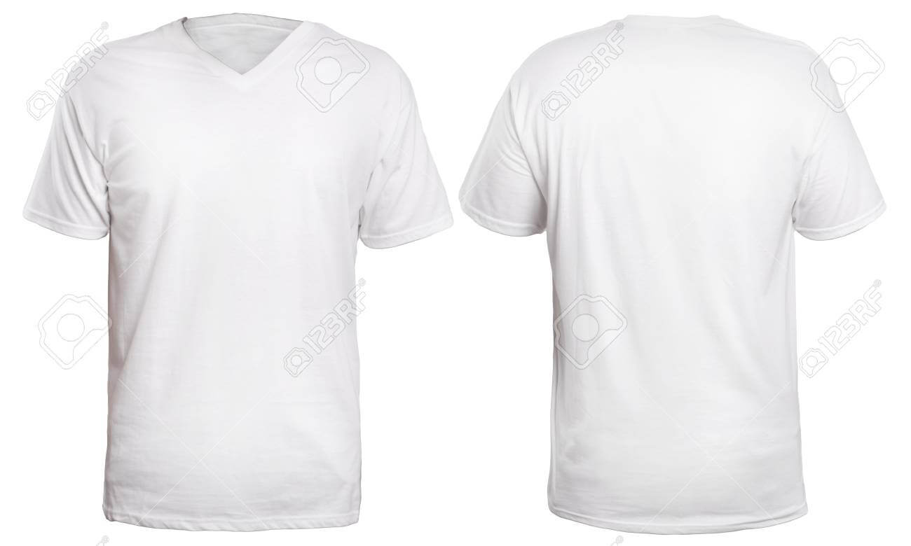 Blank V Neck Shirt Mock Up Template, Front And Back View, Isolated.. Pertaining To Blank V Neck T Shirt Template