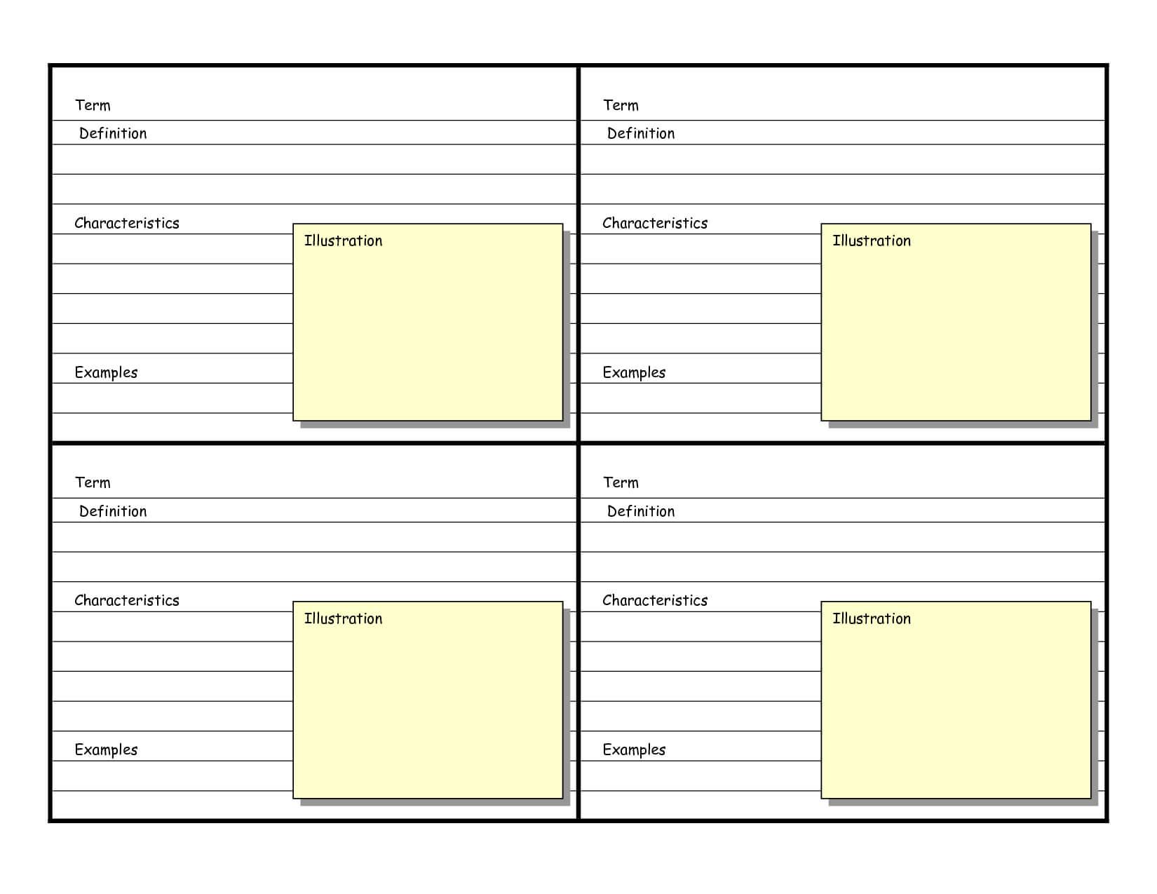 Blank Vocabulary Card Template | Vocabulary Flash Cards regarding Free Printable Flash Cards Template