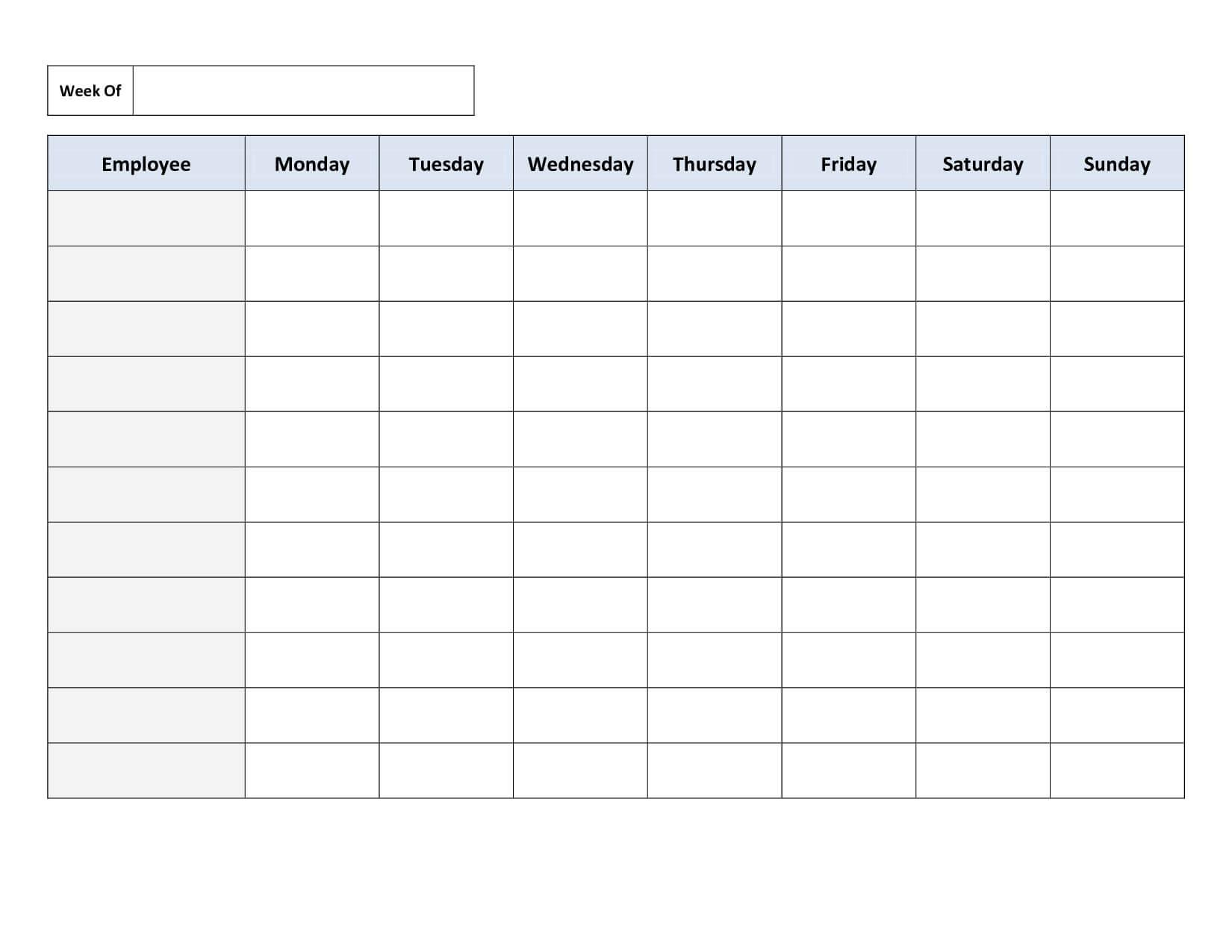 Blank Weekly Work Schedule Template | Schedule | Class With Regard To Blank Monthly Work Schedule Template