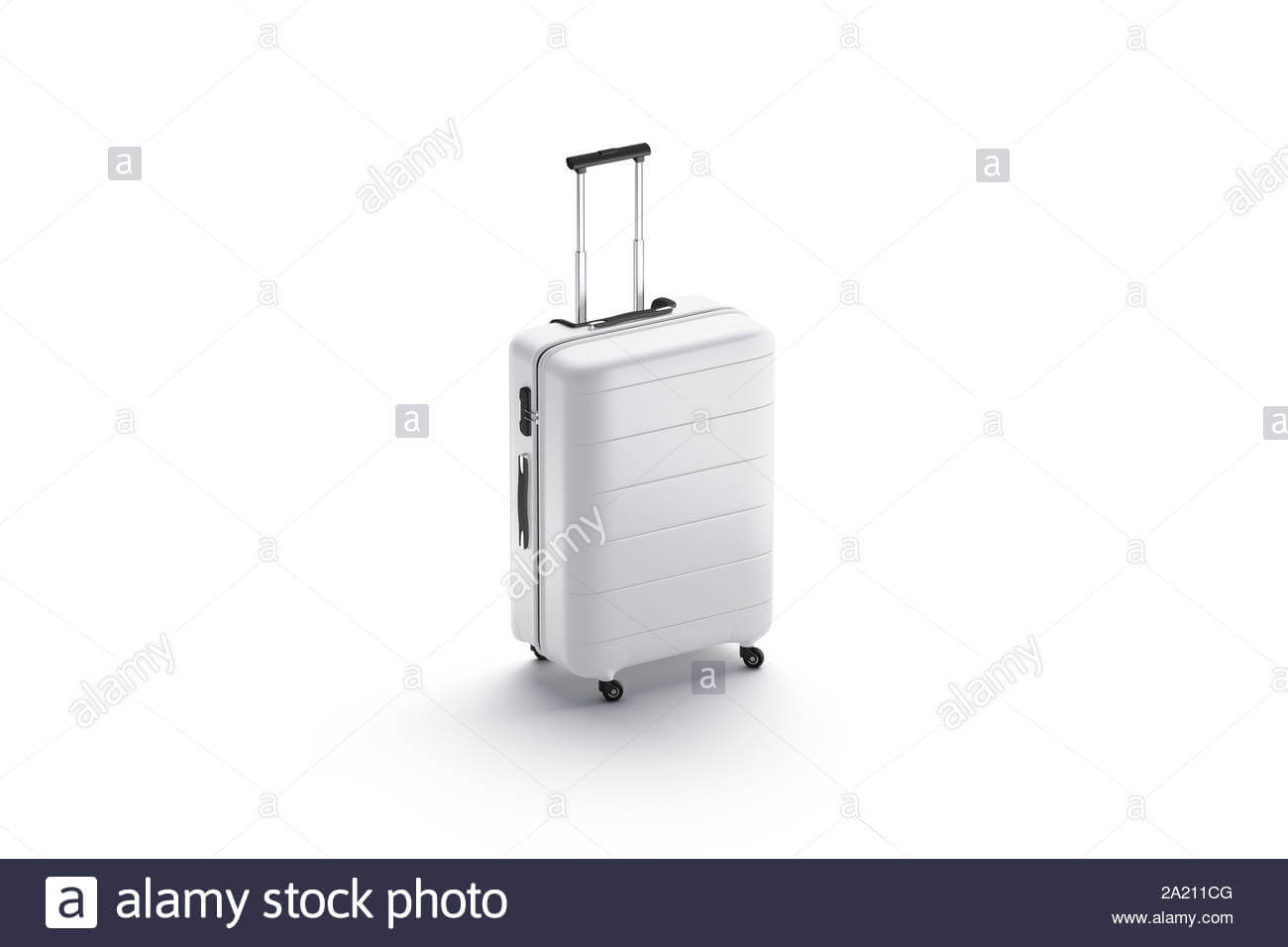 Blank White Suitcase With Handle Mockup Stand Isolated, 3D intended for Blank Suitcase Template