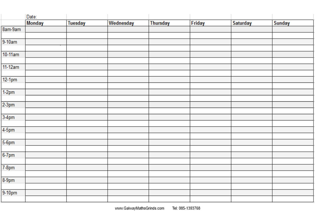 Blank+Weekly+Calendar+Template+With+Times | Timetable within Blank Revision Timetable Template