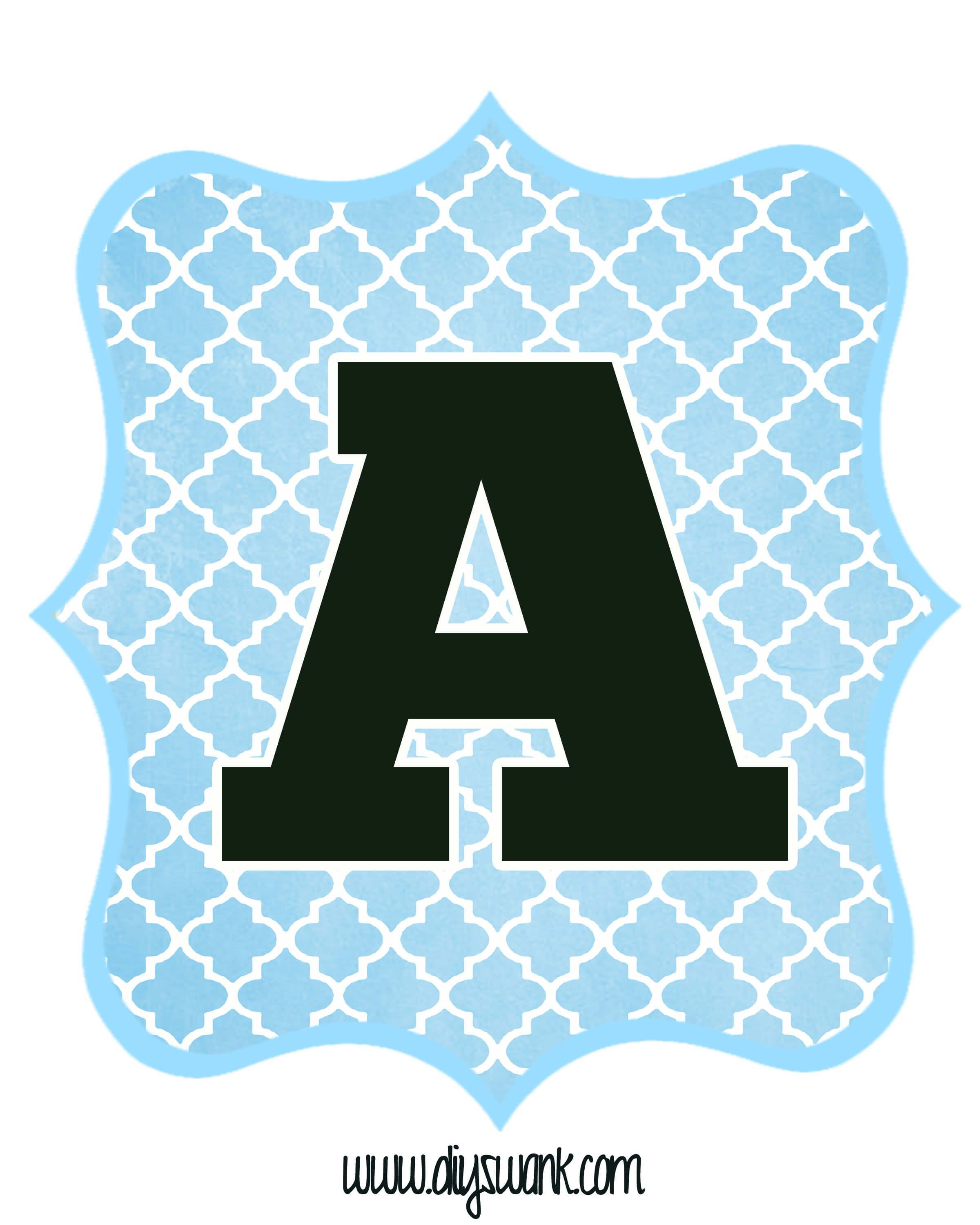Blue And Black Printable Letters For Banners | Free Inside Christening Banner Template Free