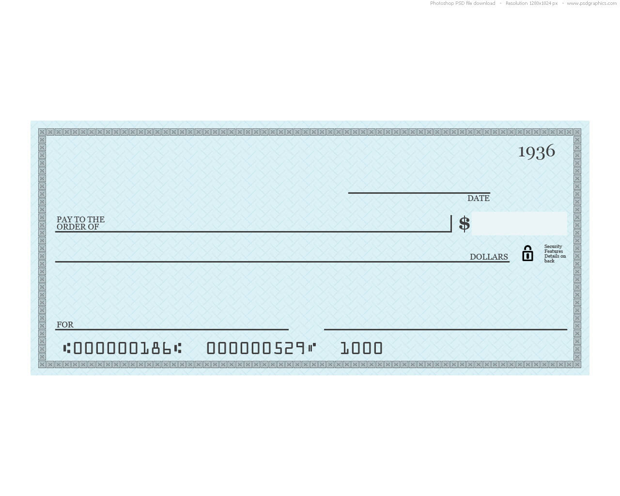 Blue Check Psd Template | Psdgraphics regarding Blank Cheque Template Download Free