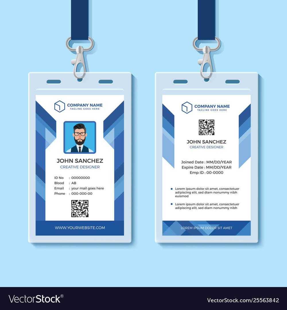 Blue Employee Id Card Design Template For Company Id Card Design Template