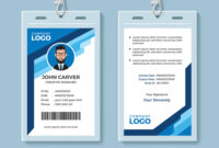 Blue Graphic Employee Id Card Template inside Template For Id Card Free Download
