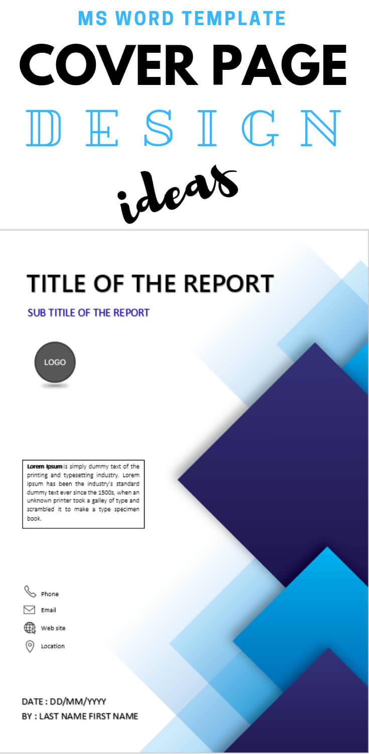 Blue Squares Abstract Design Template | Cover Page Design With Regard To Report Cover Page Template Word