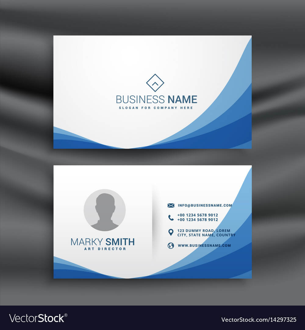 Blue Wave Simple Business Card Design Template with regard to Visiting Card Illustrator Templates Download