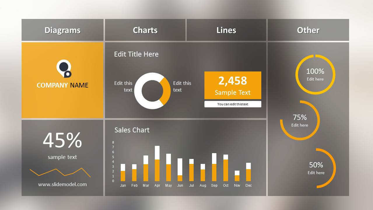 Blur Dashboard Slide For Powerpoint within Free Powerpoint Dashboard Template