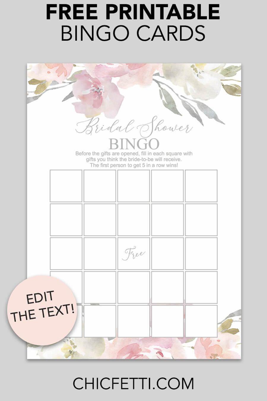 Blush Floral Printable Bridal Shower Bingo | Bridal Shower Throughout Blank Bridal Shower Bingo Template