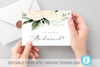 Blush Will You Be My Bridesmaid Card Printable Maid Of Honor Card  Bridesmaid Proposal Card Blush Bridesmaid Request Card Editable Template with Will You Be My Bridesmaid Card Template