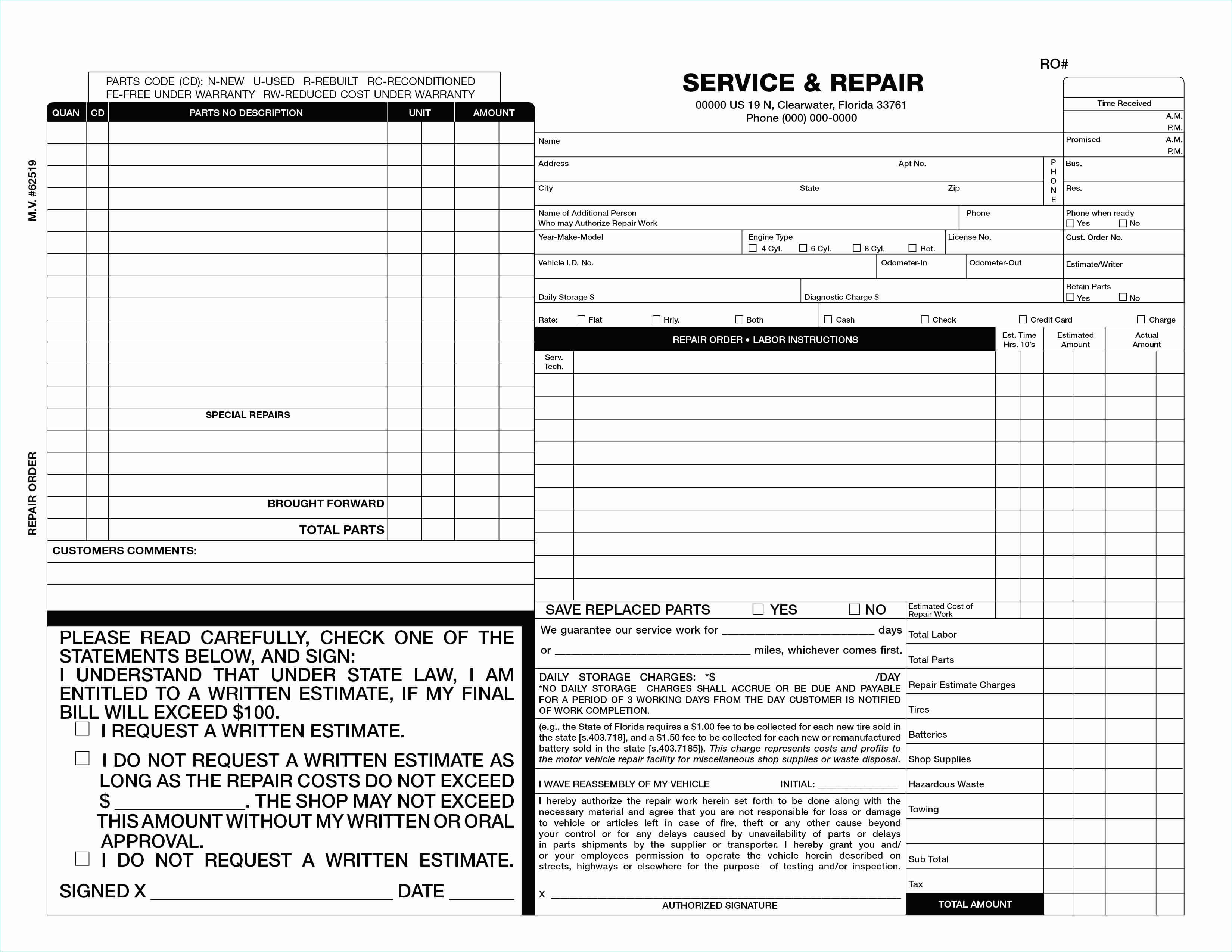 Body Shop Invoice Template Example Estimate Form Ordinary 50 Pertaining To Blank Estimate Form Template