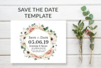 Boho Floral Save The Date Card Template In 2019 pertaining to Save The Date Cards Templates