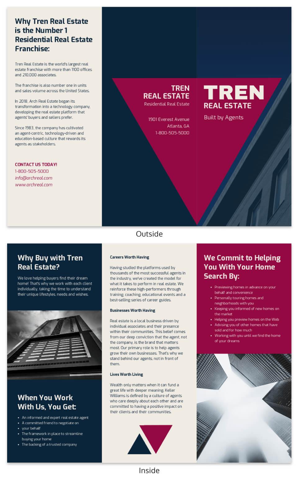 Bold Real Estate Tri Fold Brochure Template Template – Venngage With Training Brochure Template